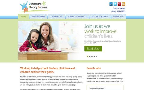 Screenshot of Home Page cumberlandtherapy.com - Providing therapy and special education services to schools and facilities - Cumberland Therapy Services - captured Oct. 3, 2014