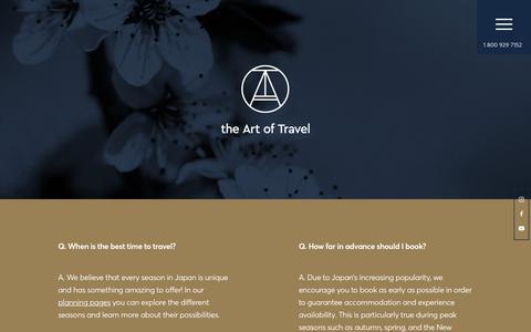 Screenshot of FAQ Page theartoftravel.net - FAQ - The Art of Travel - captured Sept. 20, 2018