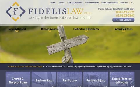 Screenshot of Home Page fidelislawfirm.com - Brentwood Family Law Attorneys | Nashville Church and Nonprofit Law - captured Sept. 8, 2015