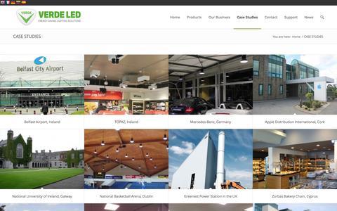 Screenshot of Case Studies Page verdeled.com - Case Studies - Verde LED, We are your Energy Saving Lighting Company. - captured Aug. 14, 2015