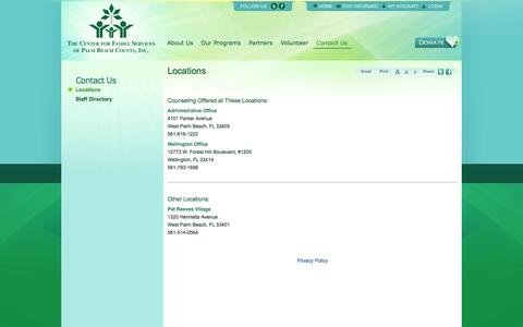 Screenshot of Locations Page ctrfam.org - Locations   The Center for Family Services - captured Oct. 7, 2014