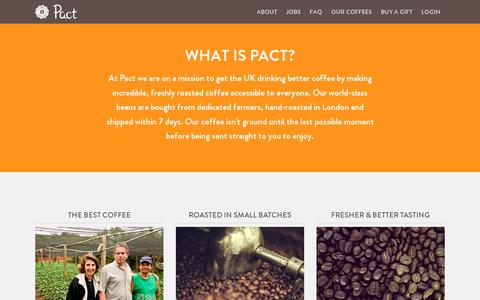 Screenshot of About Page pactcoffee.com - Pact | Delivering fresh, better tasting coffee - captured July 19, 2014