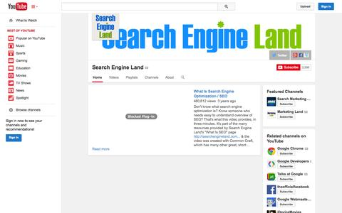Screenshot of YouTube Page youtube.com - Search Engine Land  - YouTube - captured Oct. 29, 2014