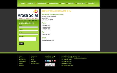 Screenshot of Contact Page arosaenergy.com - Contact solar installers in NJ – Arose Energy - captured Sept. 30, 2014