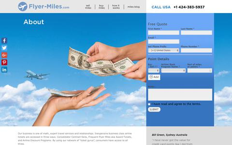 Screenshot of About Page flyer-miles.com - About - flyer-miles.com - captured Nov. 6, 2018
