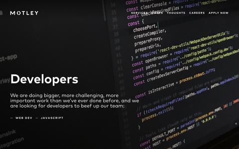 Screenshot of Developers Page motley.fi - Motley     Developers - captured Sept. 21, 2018