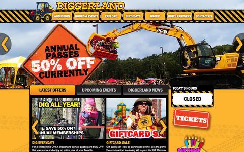 Screenshot of Home Page diggerlandusa.com - Diggerland USA - Construction Theme Park - West Berlin, NJ - captured Jan. 21, 2015
