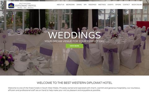 Screenshot of Home Page diplomat-hotel-wales.com - Hotel & Wedding Venue Llanelli | Best Western Diplomat Hotel - captured March 11, 2016