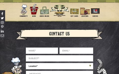 Screenshot of Contact Page pollyspies.com - Contact Us - Polly's Pies - Southern California Restaurant and Bakery - captured July 19, 2018