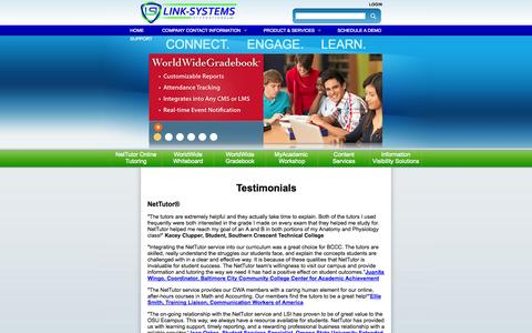 Screenshot of Testimonials Page link-systems.com - Testimonials | www.link-systems.com - captured Oct. 2, 2014
