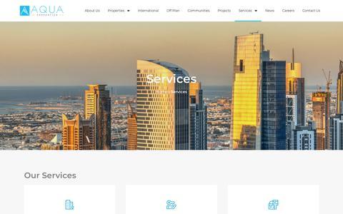 Screenshot of Services Page aquaproperties.com - Services - Aqua Properties - captured Aug. 18, 2019