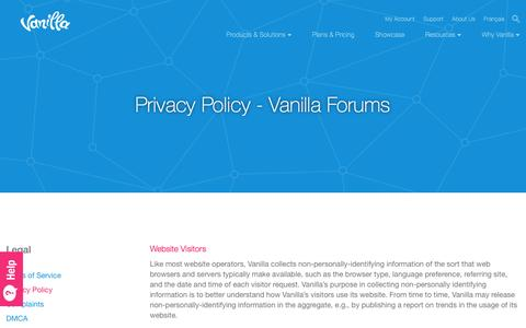 Screenshot of Privacy Page vanillaforums.com - Privacy Policy - Vanilla Forums - captured Jan. 28, 2017