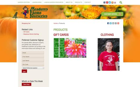 Screenshot of Products Page meadowsfarms.com - Meadows Farms - Products - captured Oct. 27, 2014