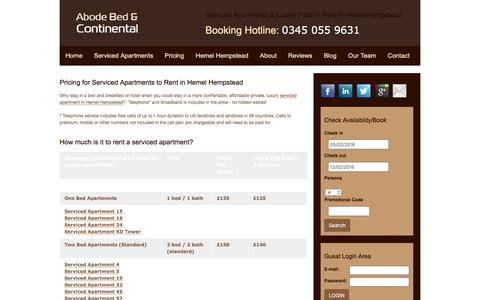Screenshot of Pricing Page abodebed.com - Serviced Apartments Hemel Hempstead Prices |  Abode Bed & Continental - captured Feb. 5, 2016