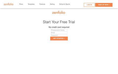 Screenshot of Trial Page zenfolio.com - Zenfolio - Free Trial - captured April 10, 2018
