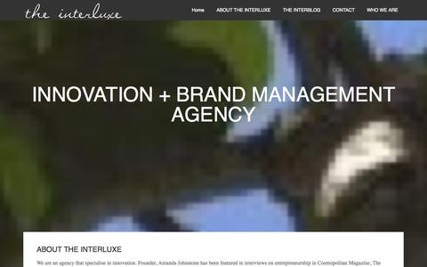 Screenshot of Home Page theinterluxe.com - THE INTERLUXE – INNOVATION + BRAND MANAGEMENT AGENCY - captured Sept. 30, 2014
