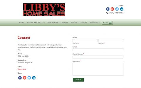 Screenshot of Contact Page libbyshomesales.com - Buyer's Agent | Contact - Dearborn Heights, MI - captured July 5, 2017