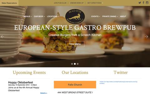 Screenshot of Home Page madfoxbrewing.com - Our Locations | Mad Fox Brewing Company - captured Sept. 12, 2015