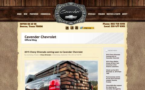 Screenshot of Blog cavenderchevrolet.com - Cavender Chevy - Official Blog - captured Sept. 29, 2014