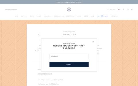 Screenshot of Contact Page toryburch.com - Contact Us - captured Aug. 14, 2019