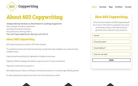 Screenshot of About Page 603copywriting.co.uk - Copywriting Agency Rated Number 1 in Manchester - captured Dec. 10, 2018