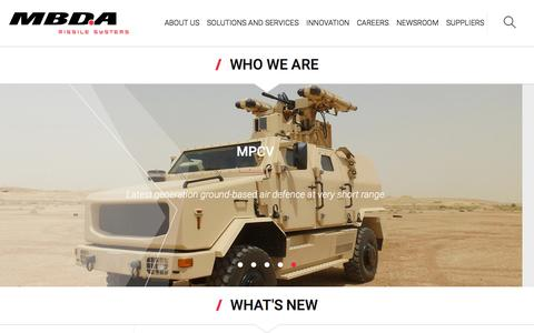 Screenshot of Home Page mbda-systems.com - MBDA - Excellence at your side - captured Feb. 2, 2016
