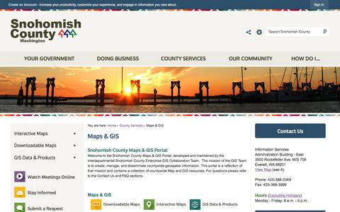Screenshot of Maps & Directions Page snohomishcountywa.gov - Maps & GIS | Snohomish County, WA - Official Website - captured Sept. 22, 2018