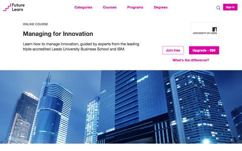 Screenshot of futurelearn.com - Managing for Innovation - Online Course - captured March 22, 2017