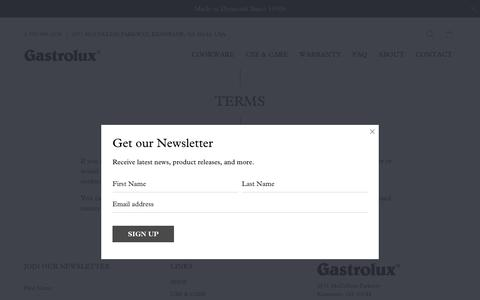 Screenshot of Terms Page gastrolux-cookware.com - TERMS - Gastrolux | Best Quality in Non-Stick Cookware - captured Nov. 4, 2018