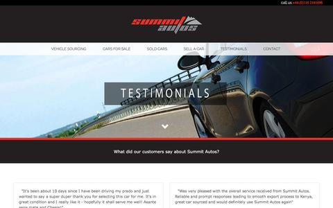 Screenshot of Testimonials Page summitautos.co.uk - Testimonials - captured Oct. 24, 2017