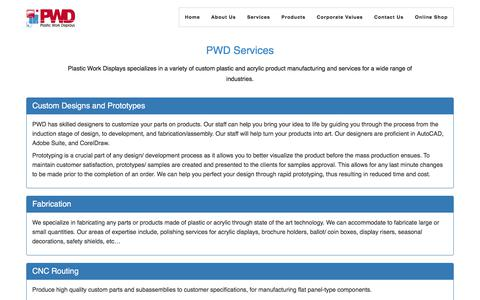 Screenshot of Services Page plasticworkdisplays.ca - Plastic Work Displays - Services - captured July 19, 2018