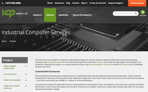 Screenshot of Services Page icpamerica.com - Industrial Computer Services | ICP America - captured Feb. 14, 2018