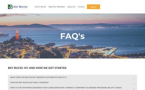 Screenshot of FAQ Page baybucks.com - FAQs - BAY BUCKS - captured Aug. 1, 2018