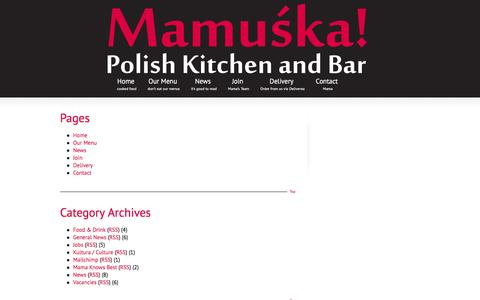 Screenshot of Site Map Page mamuska.net - Sitemap | Mamuśka! – Polish Restaurant & Bar - captured Feb. 4, 2016