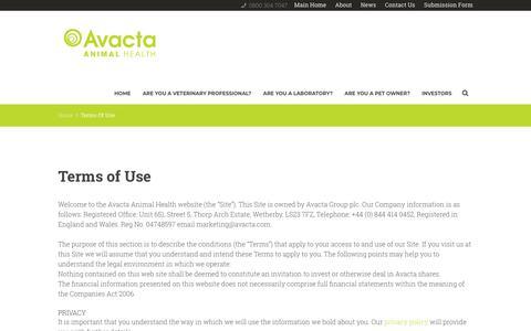 Screenshot of Terms Page avactaanimalhealth.com - Terms Of Use - Avacta Animal Health - captured Jan. 1, 2018