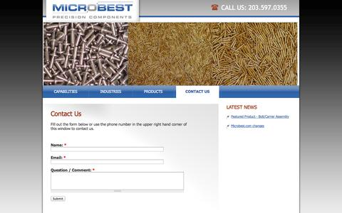 Screenshot of Contact Page microbest.com - Contact Us   Microbest - captured Oct. 27, 2014