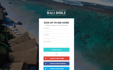 Screenshot of Signup Page thebalibible.com - The Bali Bible | The Ultimate Guide to Bali - captured May 6, 2018