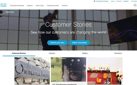 Screenshot of Case Studies Page cisco.com - Case Studies and Customer Success Stories - Cisco - captured Jan. 20, 2018