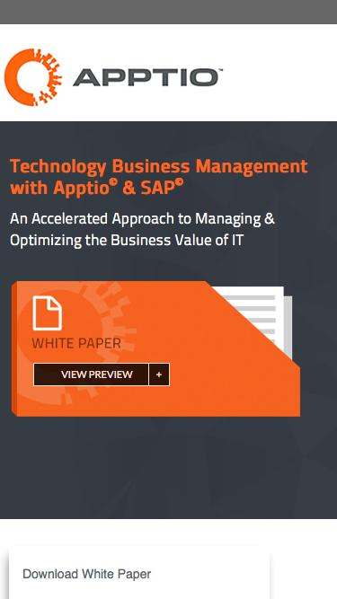 Technology Business Management with Apptio<sup>©</sup> & SAP<sup>©</sup>