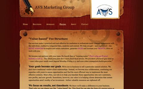 Screenshot of Pricing Page avsenterprise.com - Pricing - AVSMarketing Group - captured Oct. 4, 2014