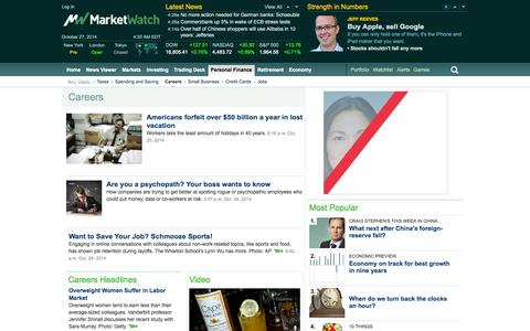 Screenshot of Jobs Page marketwatch.com - Career Advice and Information - Career Articles - Jobs News - captured Oct. 27, 2014