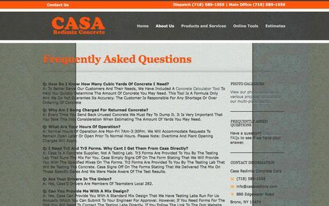 Screenshot of FAQ Page casaredimix.com - Frequently Asked Questions | Casa Redimix Concrete Corporation | Ready Mix | Bronx, New York - captured Oct. 26, 2016