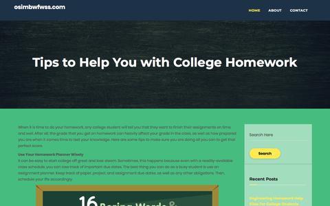 Screenshot of Home Page osimbwfwss.com - Valuable Tips for Students Who Need College Homework Help   osimbwfwss.com - captured Feb. 20, 2018
