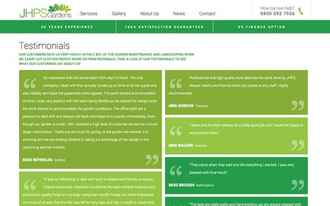 Screenshot of Testimonials Page jhps-gardens.co.uk - Testimonials - JHPS Gardens - Garden Maintenance and Landscaping : JHPS - captured Oct. 1, 2018
