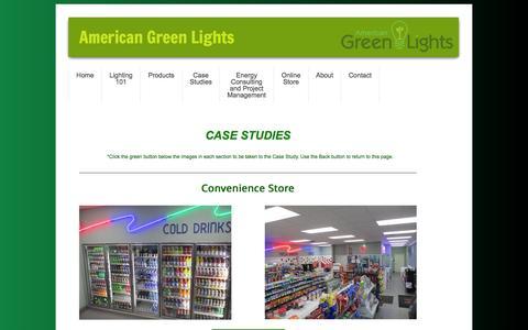 Screenshot of Case Studies Page americangreenlights.com - Case Studies - captured Feb. 6, 2016