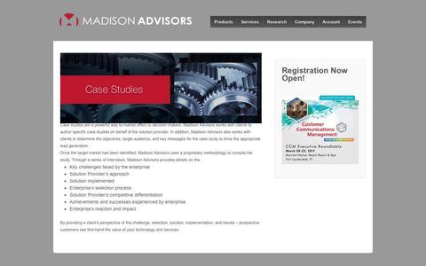 Screenshot of Case Studies Page madison-advisors.com - Case Studies - Madison Advisors - captured May 27, 2017