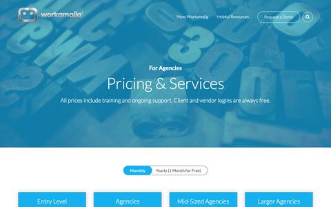 Screenshot of Pricing Page workamajig.com - (2) New Messages! - captured Feb. 14, 2019