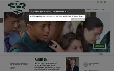 Screenshot of About Page northwestcatholic.org - Northwest Catholic: About Us - captured Dec. 1, 2016