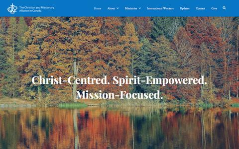 Screenshot of Home Page cmacan.org - Home | The Christian and Missionary Alliance in Canada - captured Sept. 24, 2018
