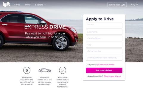 Screenshot of Landing Page lyft.com - Express Drive - Lyft - captured Oct. 23, 2016